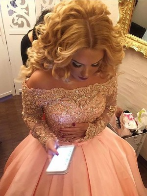 Pink Ball Gown Off-the-Shoulder Court Train Prom Dresses with Beading
