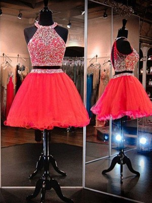 Short Halter A-Line Tulle Watermelon Homecoming Dresses