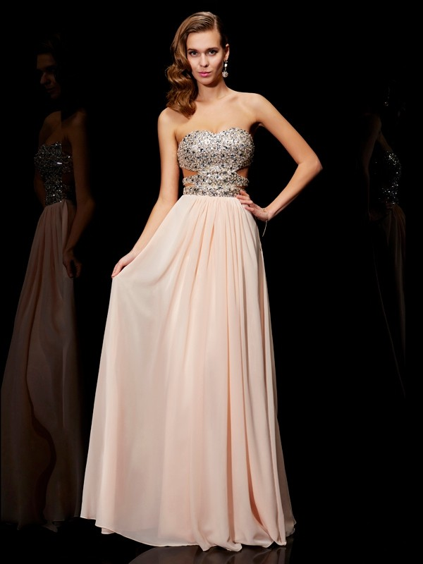 A-Line Sweetheart Long Pearl Pink Prom Dresses with Rhinestone