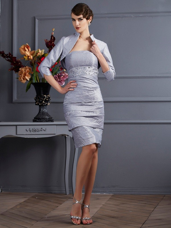 Strapless Knee-Length Silver Prom Dresses
