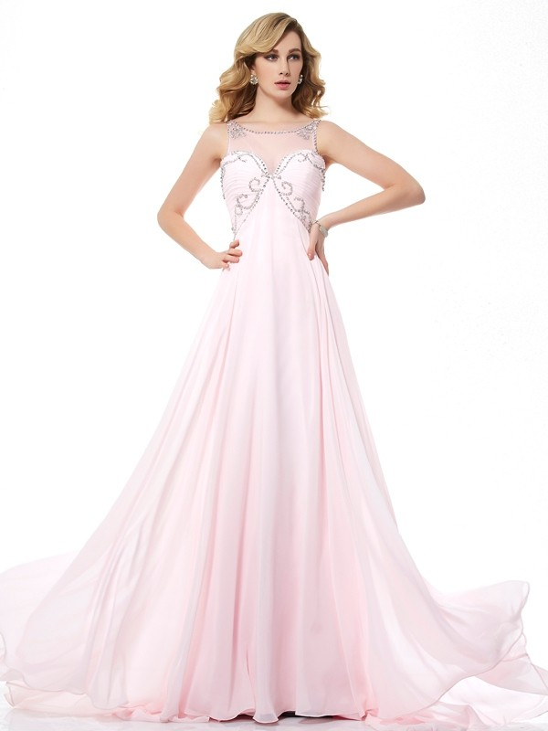 Brush Train Pearl Pink Scoop Prom Dresses with Beading