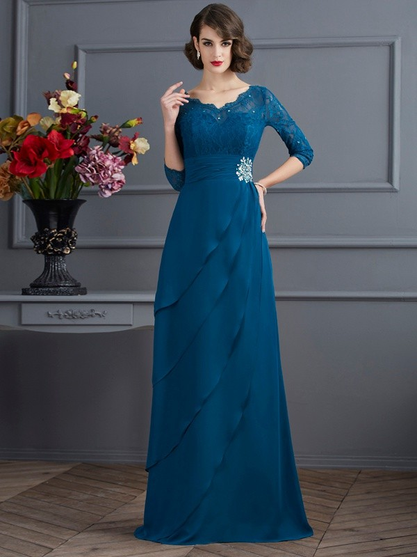 A-Line V-neck Floor-Length Dark Green Prom Dresses