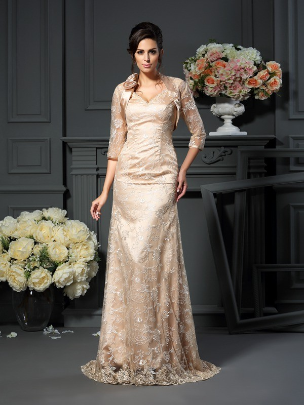 Champagne V-neck Elastic Woven Satin Long Mother of the Bride Dresses