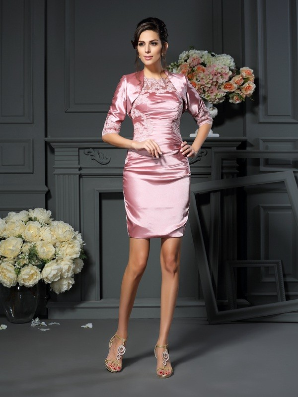 Short/Mini Pearl Pink Scoop Mother of the Bride Dresses with Applique