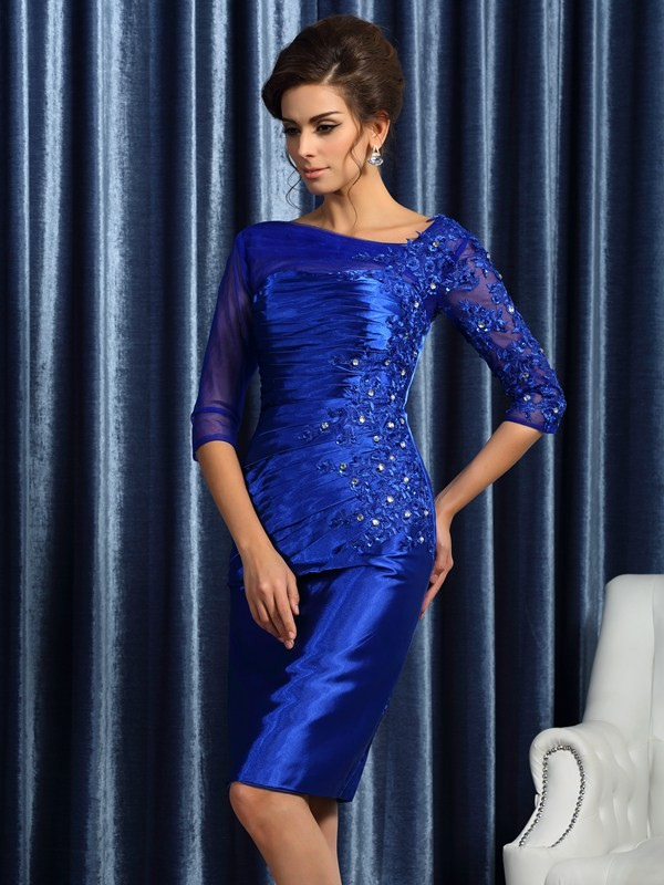 Royal Blue Other Elastic Woven Satin Knee-Length Mother of the Bride Dresses