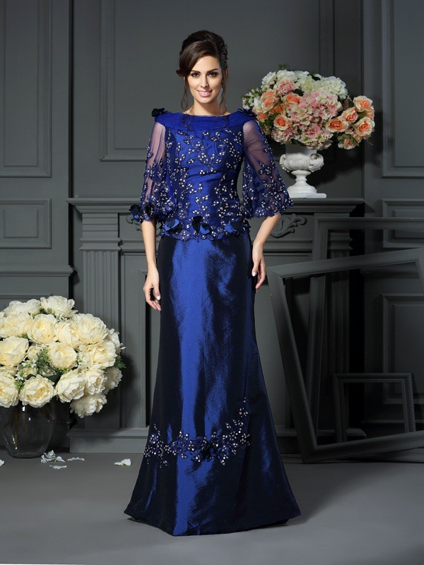 Taffeta Half Sleeves Scoop Long Royal Blue Mother of the Bride Dresses