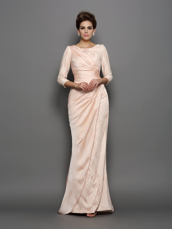 Pink Bateau Chiffon Brush Train Mother of the Bride Dresses