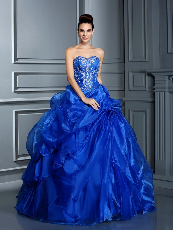 Ball Gown Sweetheart Floor-Length Royal Blue Prom Dresses with Applique