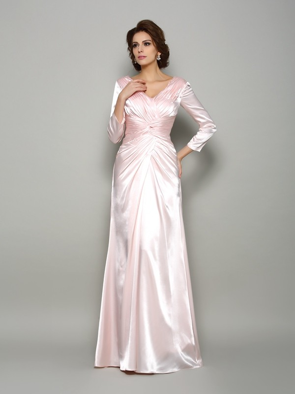 Silk like Satin V-neck Floor-Length Pearl Pink Mother of the Bride Dresses
