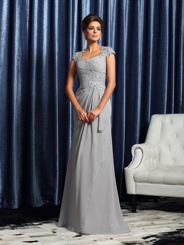 Chiffon Short Sleeves Brush Train Silver Mother of the Bride Dresses