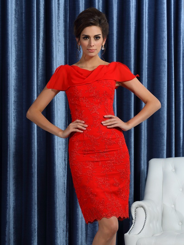 Sheath Bateau Knee-Length Red Mother of the Bride Dresses with Lace