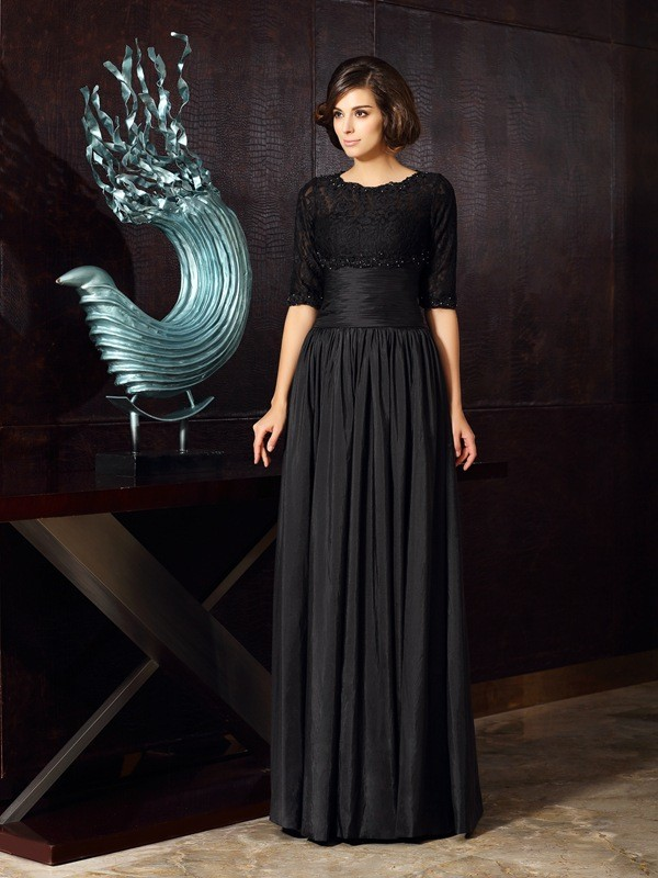 Black Floor-Length Mother of the Bride Dresses with Applique