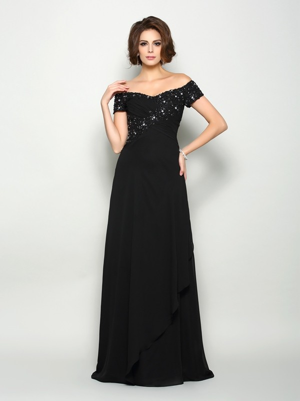 Chiffon Short Sleeves Off-the-Shoulder Brush Train Black Mother of the Bride Dresses