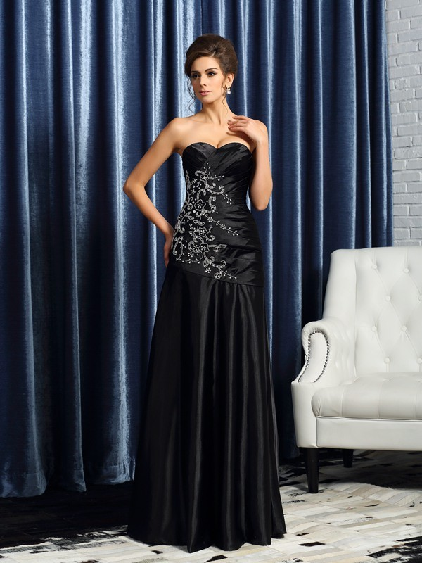 Floor-Length Black Mother of the Bride Dresses with Beading