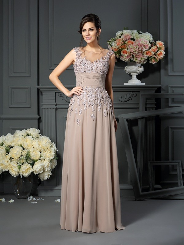 Silk like Satin Floor-Length Mother of the Bride Dresses with Beading