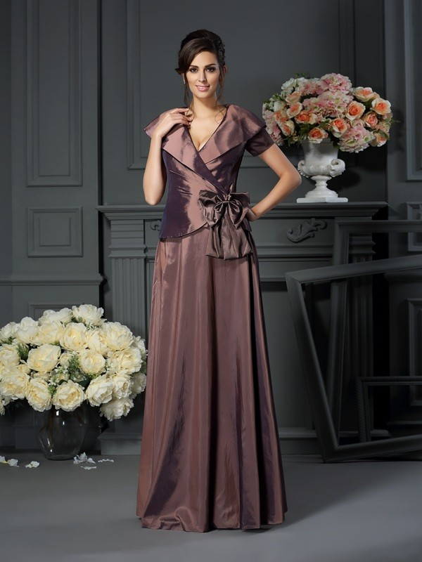 Floor-Length Chocolate Short Sleeves V-neck Mother of the Bride Dresses with Bowknot
