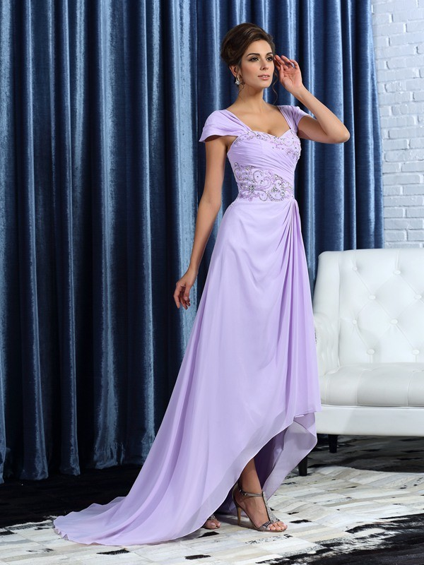 Chiffon Straps Asymmetrical Lilac Mother of the Bride Dresses