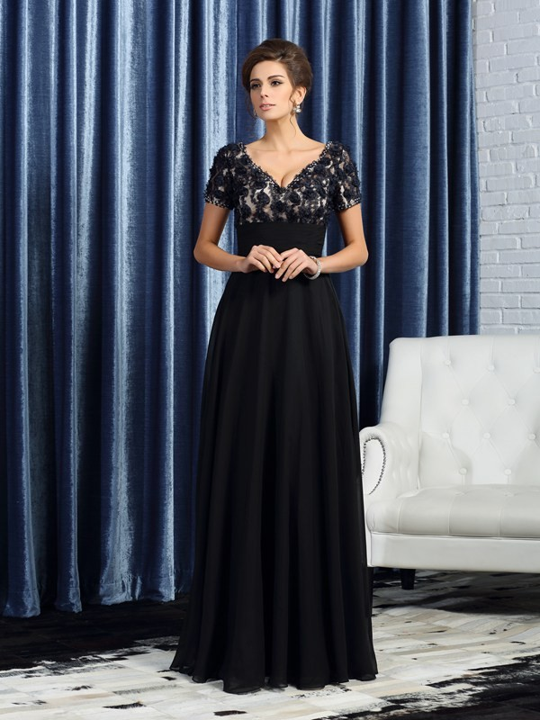Short Sleeves V-neck Floor-Length Black Mother of the Bride Dresses
