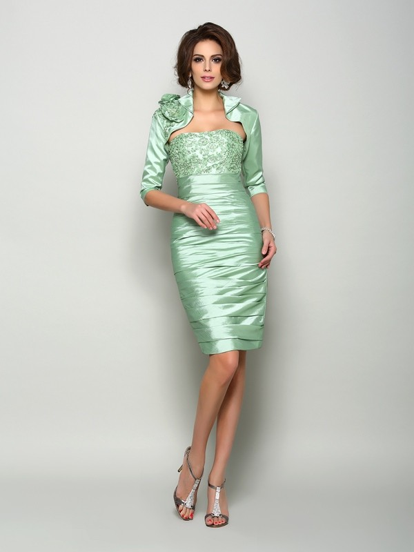 Sheath Taffeta Strapless Knee-Length Mother of the Bride Dresses