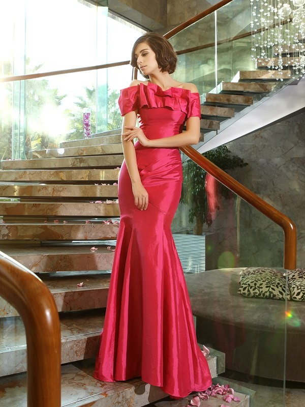 Taffeta Strapless Brush Train Fuchsia Mother of the Bride Dresses