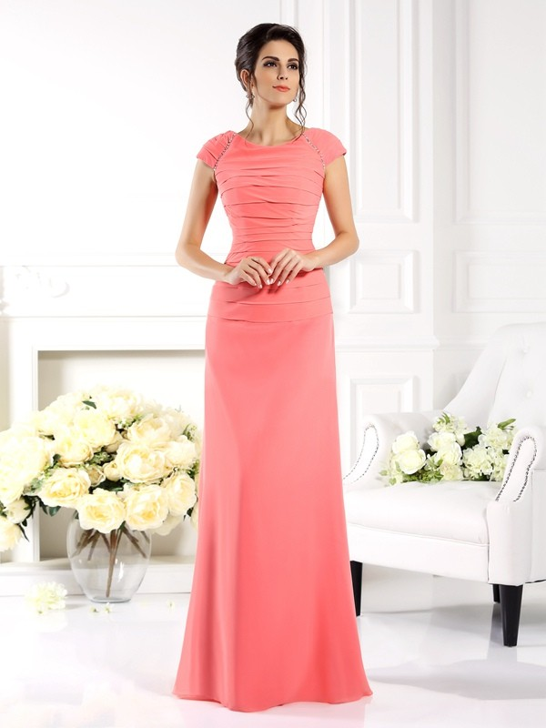 Bateau Floor-Length Pink Mother of the Bride Dresses
