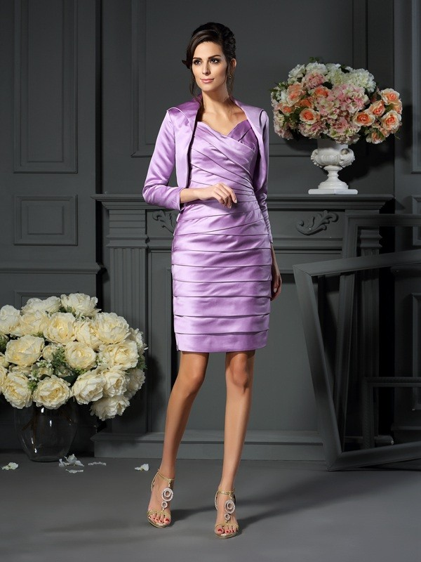 Satin Straps Knee-Length Lavender Mother of the Bride Dresses