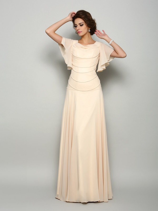 Champagne Square Chiffon Floor-Length Mother of the Bride Dresses