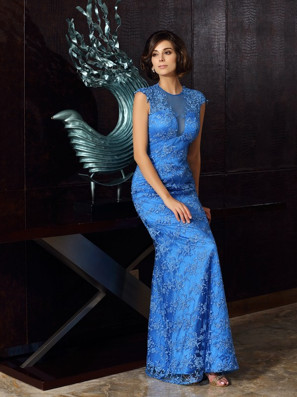 Satin High Neck Floor-Length Blue Mother of the Bride Dresses
