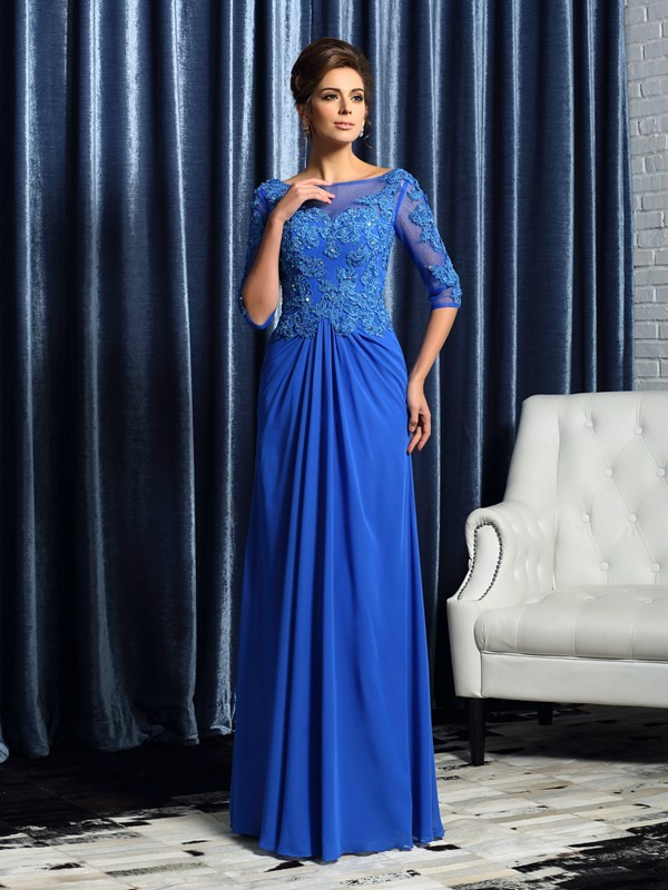 Half Sleeves Bateau Floor-Length Mother of the Bride Dresses with Beading
