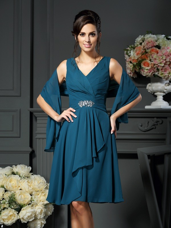 V-neck Knee-Length Other Mother of the Bride Dresses with Beading