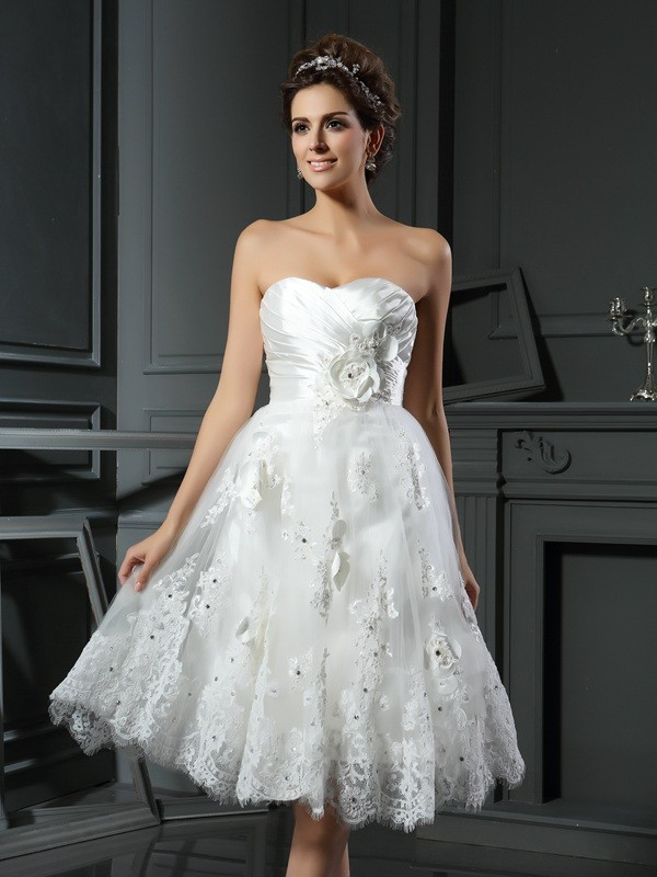 A-Line Sweetheart Short/Mini Ivory Wedding Dresses