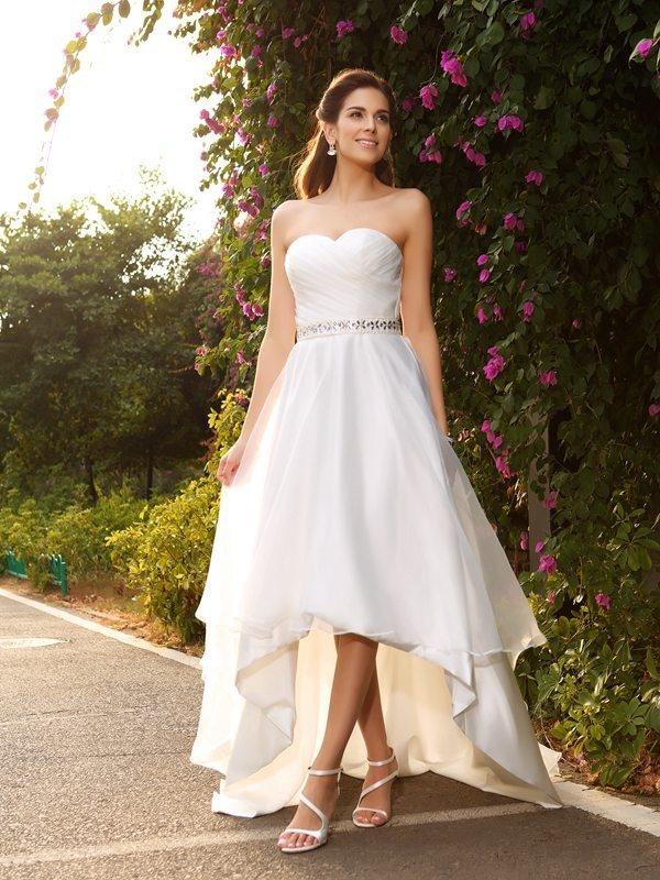 A-Line Sweetheart Asymmetrical Ivory Wedding Dresses