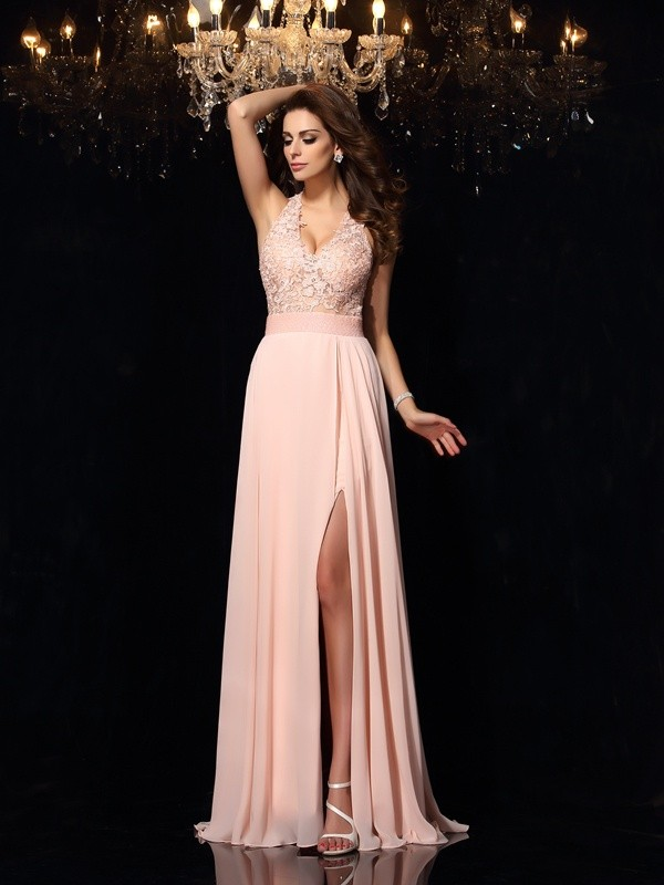 Halter Brush Train Pearl Pink Prom Dresses with Lace