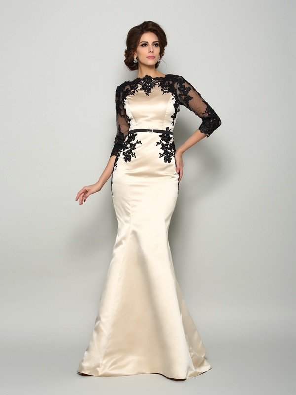Satin Mermaid Court Train Half Sleeves Bateau Ivory Mother of the Bride Dresses