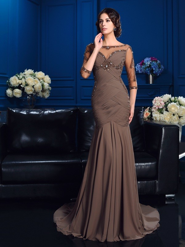 3/4 Sleeves Scoop Court Train Mother of the Bride Dresses with Beading