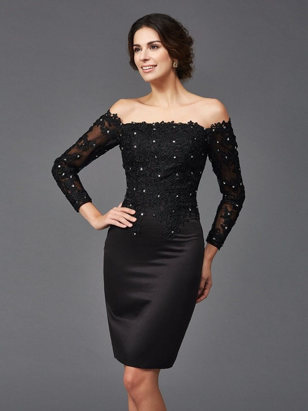 Sheath Off-the-Shoulder Knee-Length Black Mother of the Bride Dresses