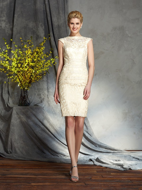 Elastic Woven Satin Short Sleeves Bateau Short/Mini Champagne Mother of the Bride Dresses