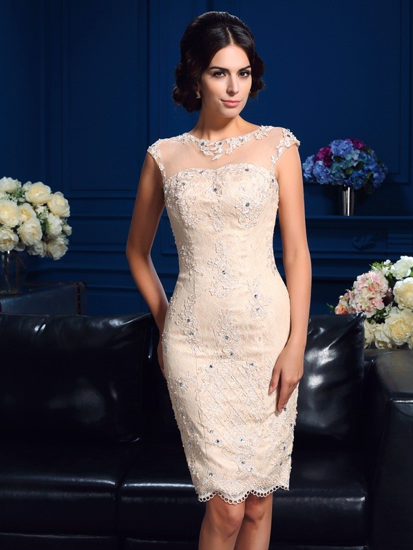 Lace Sheer Neck Short/Mini Mother of the Bride Dresses with Lace