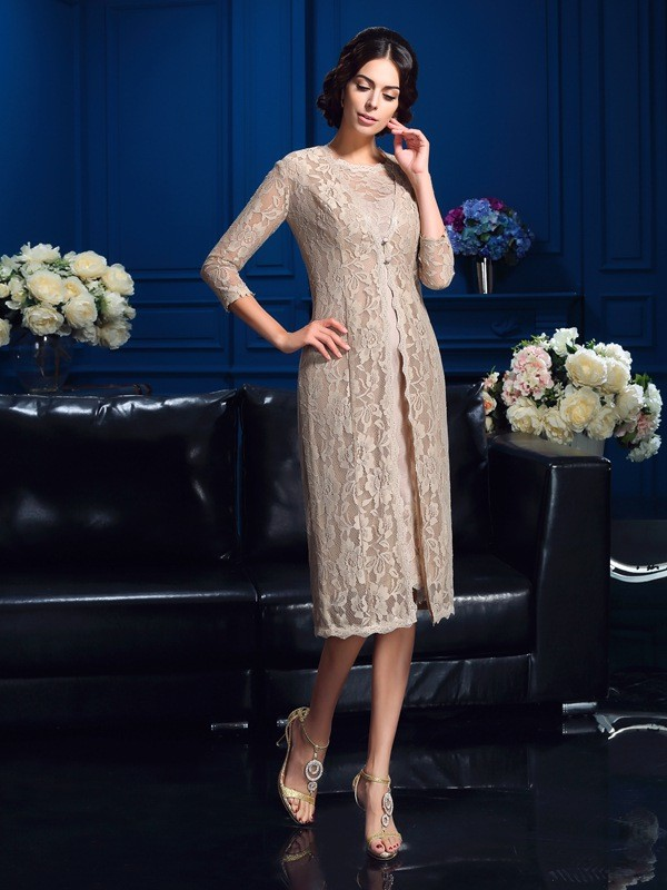 Knee-Length Ivory Scoop Mother of the Bride Dresses with Lace