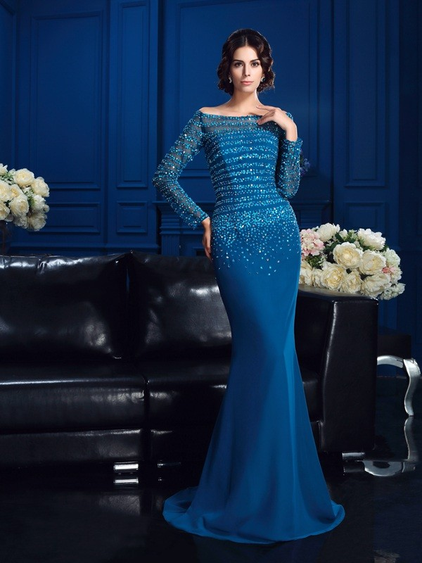 Blue Off-the-Shoulder Chiffon Brush Train Mother of the Bride Dresses