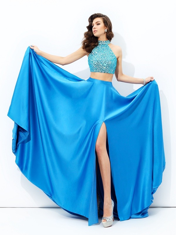 Royal Blue A-Line High Neck Court Train Prom Dresses with Beading