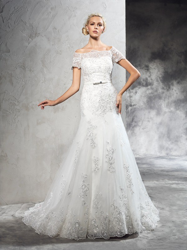 Sheath Off-the-Shoulder Court Train Ivory Wedding Dresses