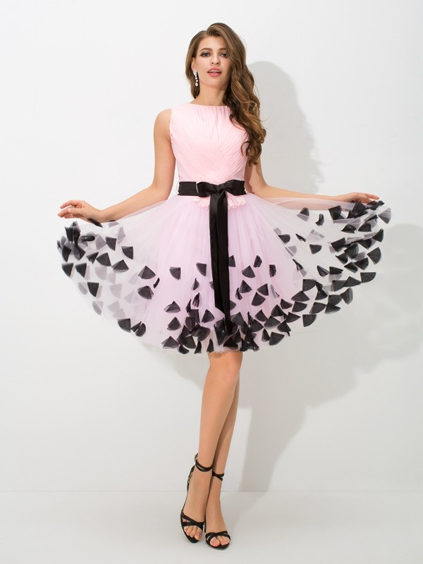 A-Line High Neck Short/Mini Pink Homecoming Dresses