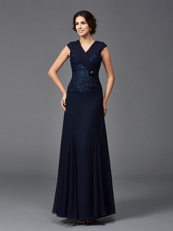 Dark Navy Straps Chiffon Ankle-Length Mother of the Bride Dresses