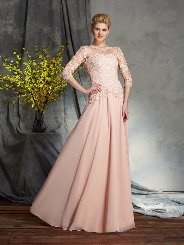 3/4 Sleeves Scoop Floor-Length Pink Mother of the Bride Dresses with Applique
