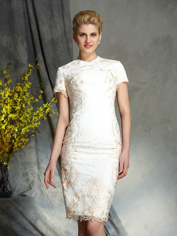 Sheath Lace Short Sleeves Jewel Short/Mini Champagne Mother of the Bride Dresses