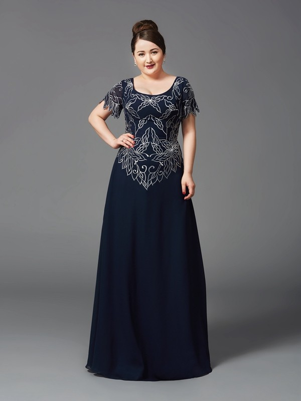 Dark Navy A-Line Square Floor-Length Mother of the Bride Dresses
