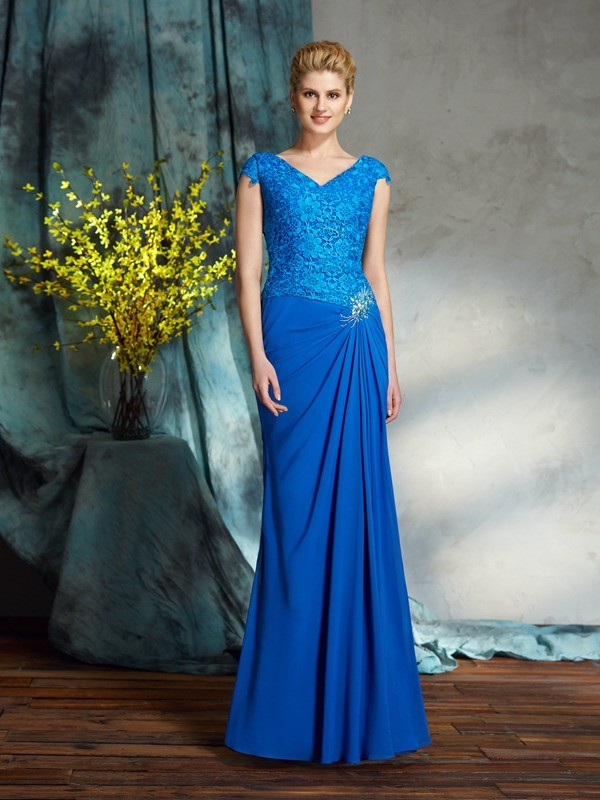 Sheath Short Sleeves V-neck Floor-Length Mother of the Bride Dresses with Lace