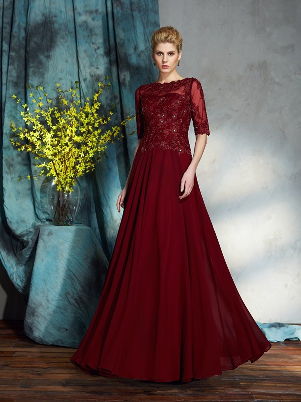 Bateau Floor-Length Red Mother of the Bride Dresses with Applique