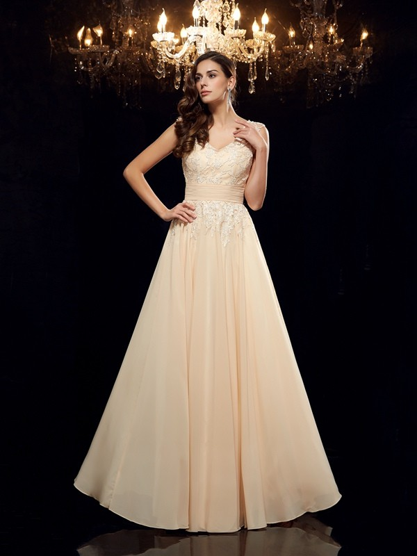 A-Line Straps Floor-Length Champagne Mother of the Bride Dresses